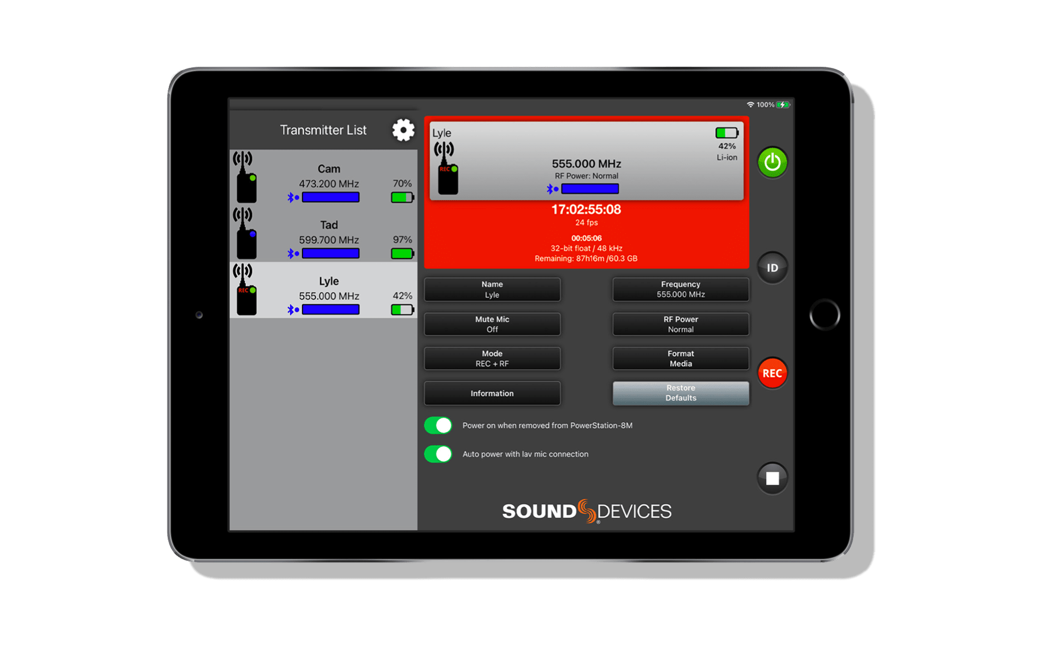 View of Sound Devices Remote app of the A20-TX-Mini